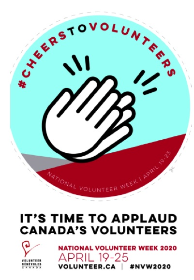 "Cheers To Volunteers graphic ""It's Time to applaud Canada's volunteers"""