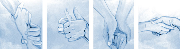 Painting of four hand groupings illustrating our values of Dignity, Excellence, Service & Integrity