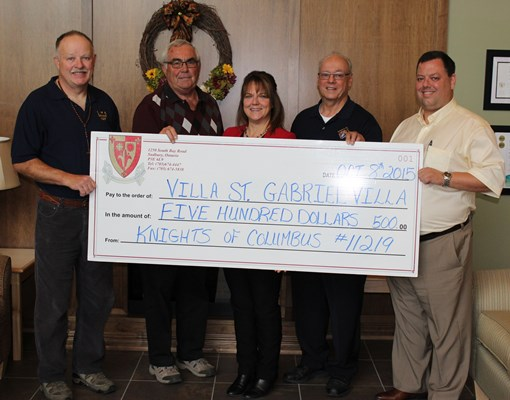 Knights of Columbus Council 11219 donate to Villa St. Gabriel Villa