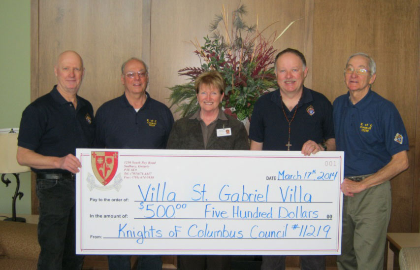 Knights of Columbus Cheque Presentation