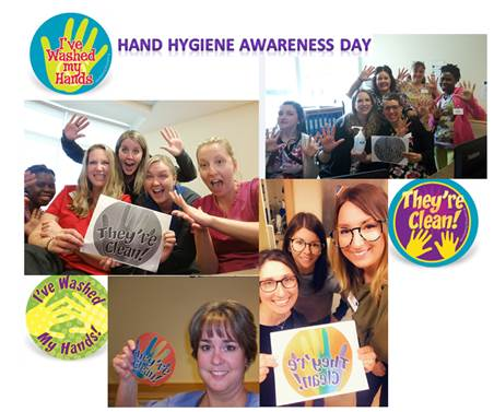 SJCCC Hand Hygiene Collage Staff and residents showing clean hands