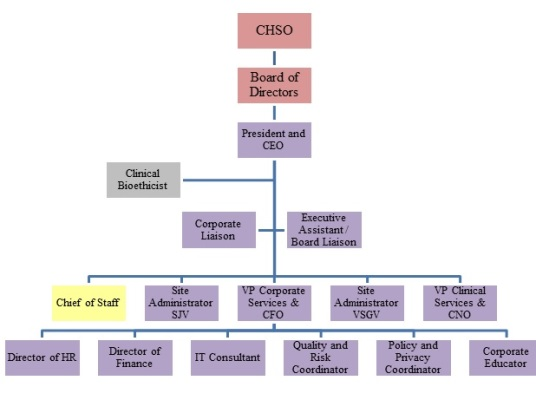 Organizational Chart  St JosephS Health Centre