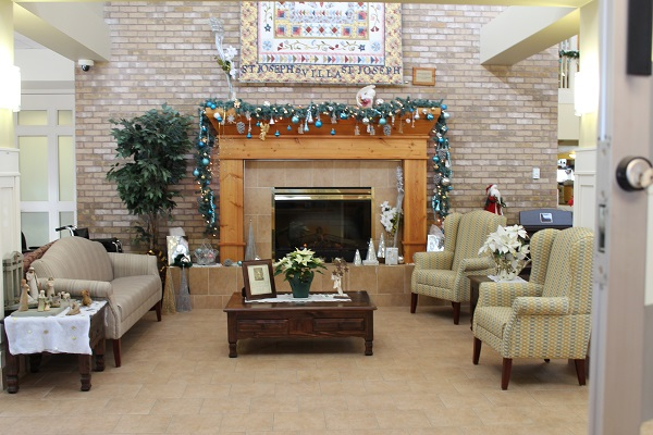 SJV Lobby Sitting Area with Fireplace