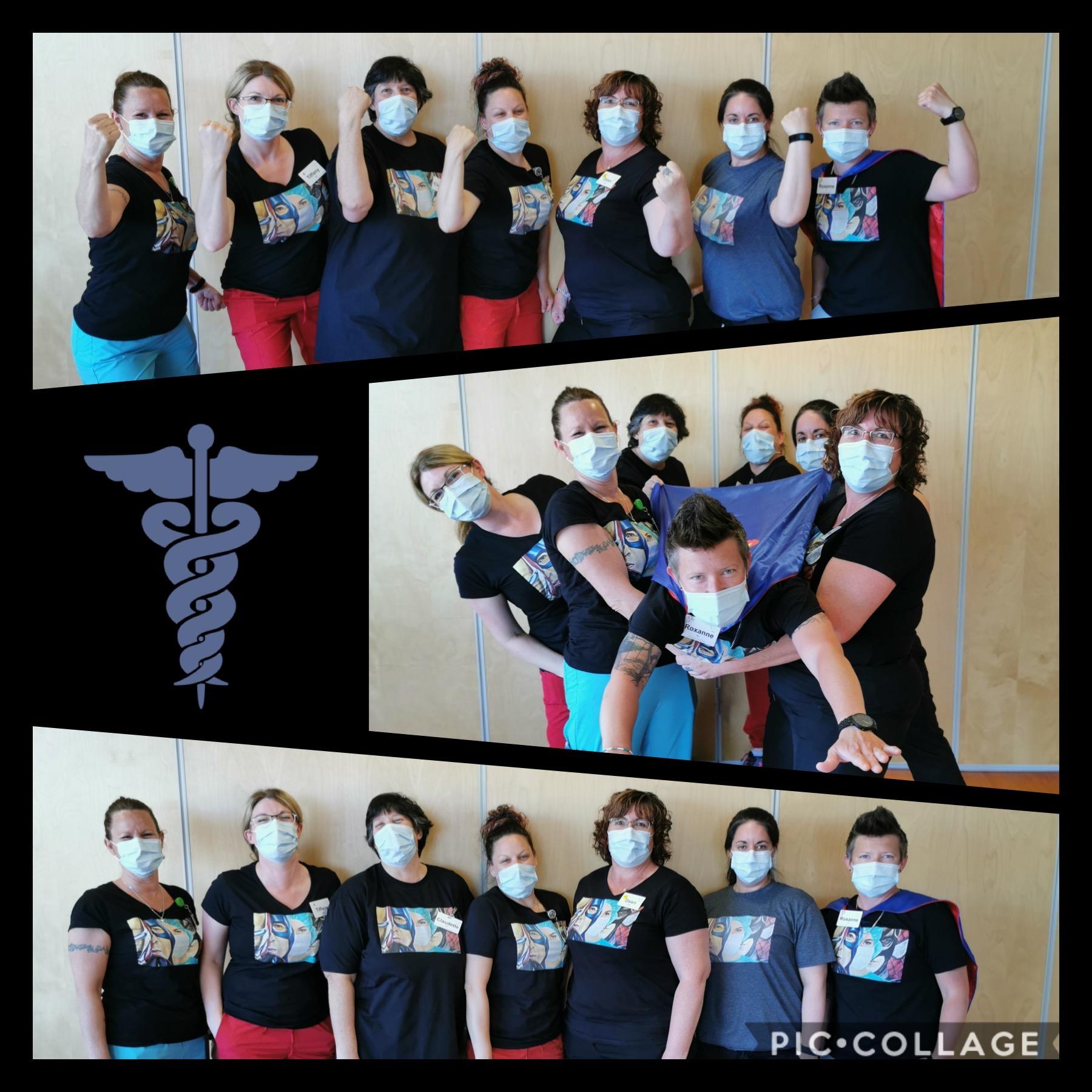 VSGV staff wearing face masks and superhero capes