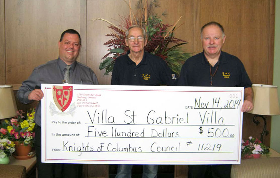 Knights of Columbus cheque presentation to Villa St. Gabriel Villa Nov 14, 2014
