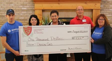 Union Gas Donation cheque presentation